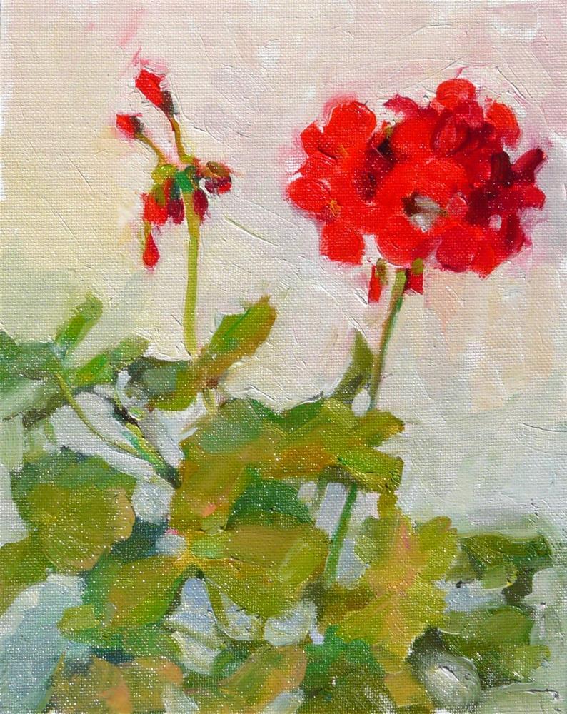 """April Geranium,still life,oil on canvas,10x8,price$200"" original fine art by Joy Olney"