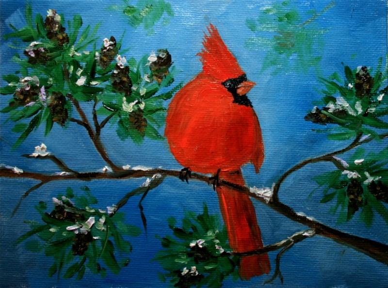 """Cardinal"" original fine art by Jean Nelson"