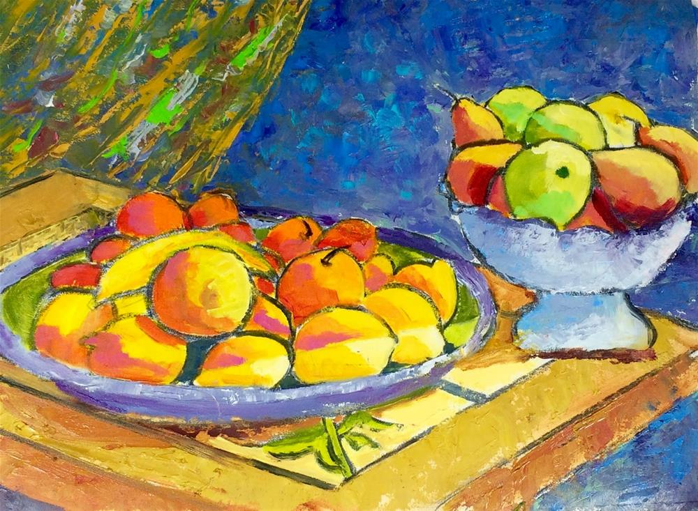 """Fruit Bowl from the Isola di Ortigia"" original fine art by Phyllis Davis"