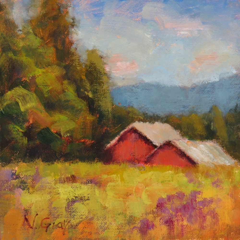 """Red Barns in Lavender Field"" original fine art by Naomi Gray"