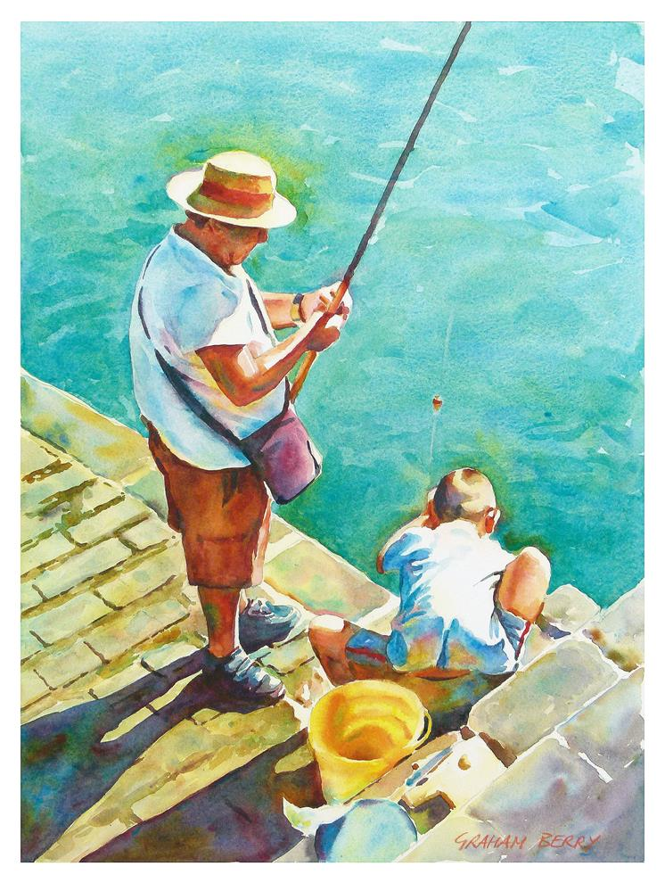 """""""Fishing together"""" original fine art by Graham Berry"""