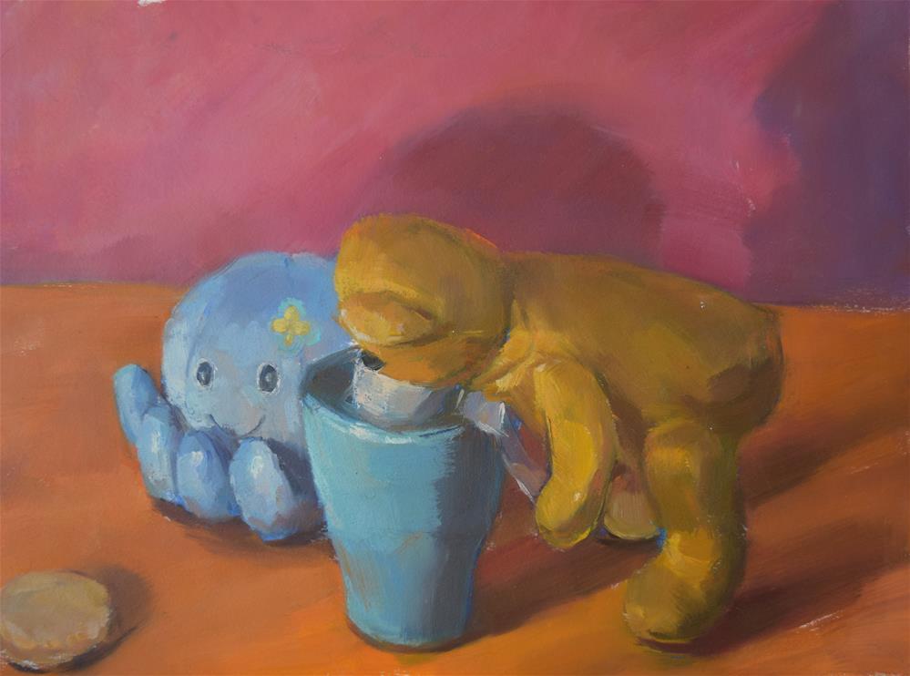 """""""playing toys"""" original fine art by Jingyi Wang"""