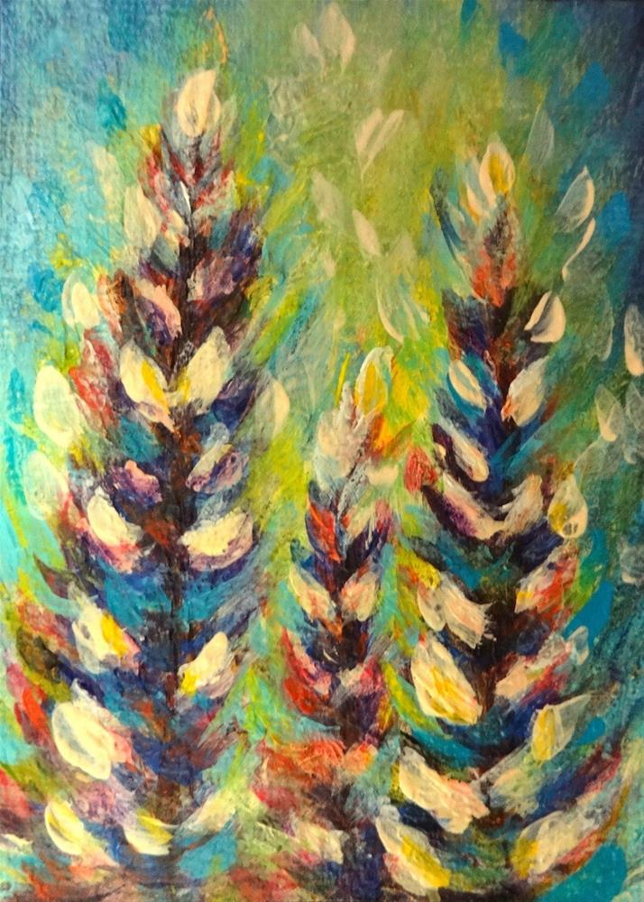 """4008 - Framed - THREE LUPINES - ACEO Series"" original fine art by Sea Dean"