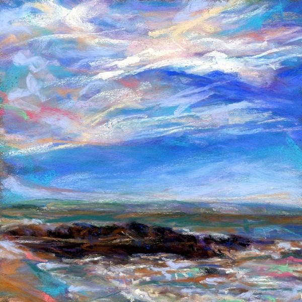 """DEL'S SHORELINE - 4 1/2 x 4 1/2 pastel sold by TIRAGE  GALLERY"" original fine art by Susan Roden"