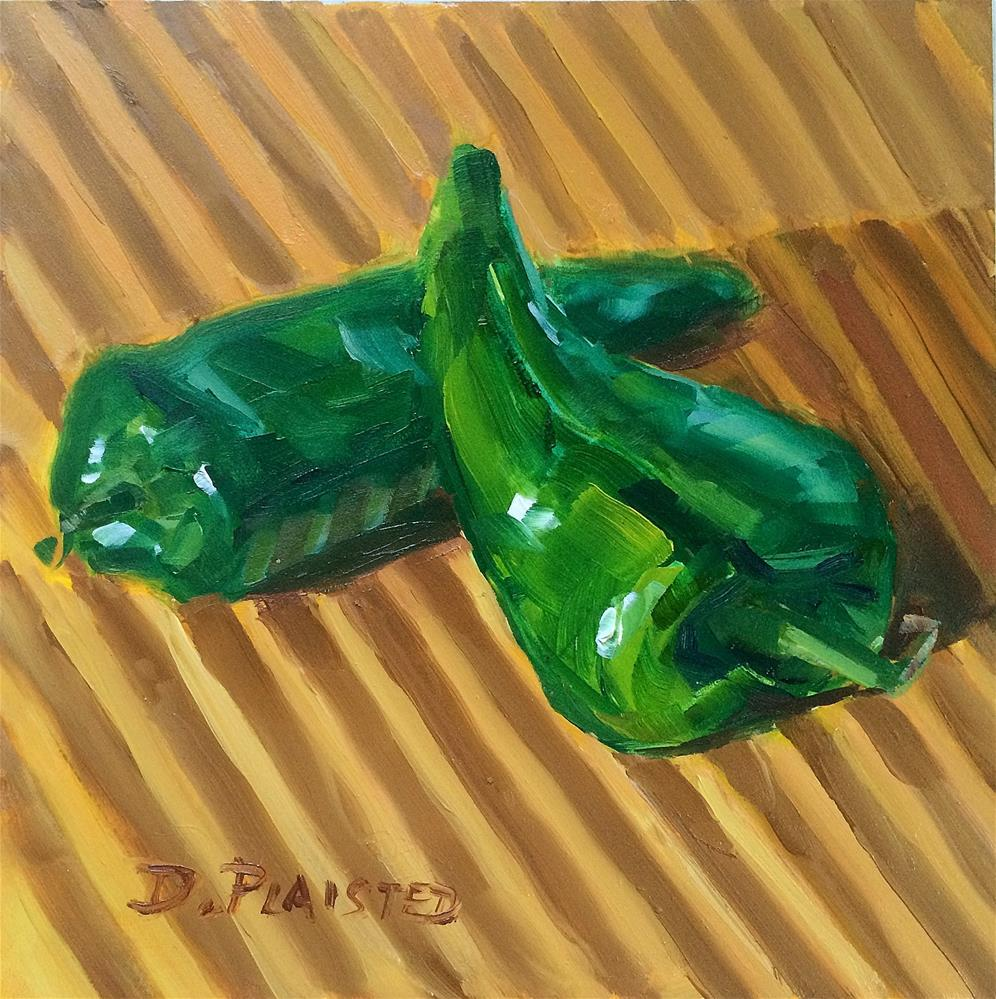 """Pablano Peppers on the Chopping Block"" original fine art by Diane Plaisted"