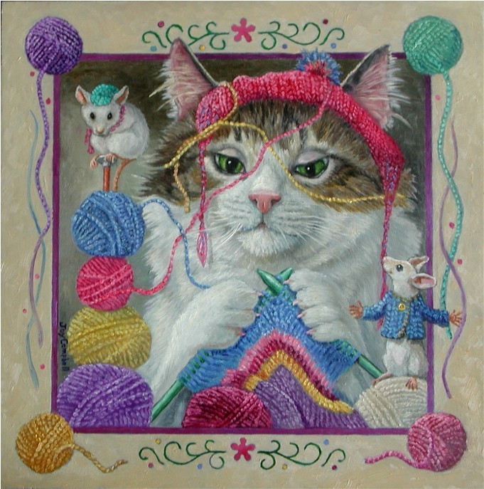 """Mable Knitting"" original fine art by Joy Campbell"