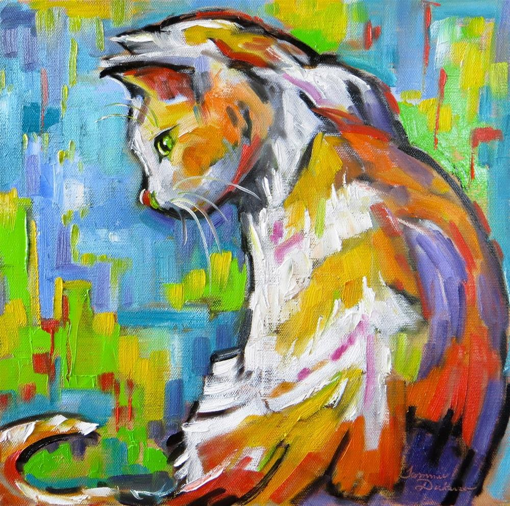"""Contemporary Cat"" original fine art by Tammie Dickerson"