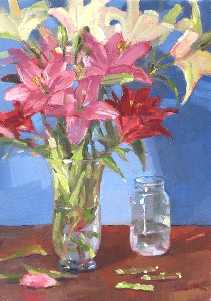 """A Profusion of Lilies floral flower bouquet oil painting one dollar auction"" original fine art by Sarah Sedwick"