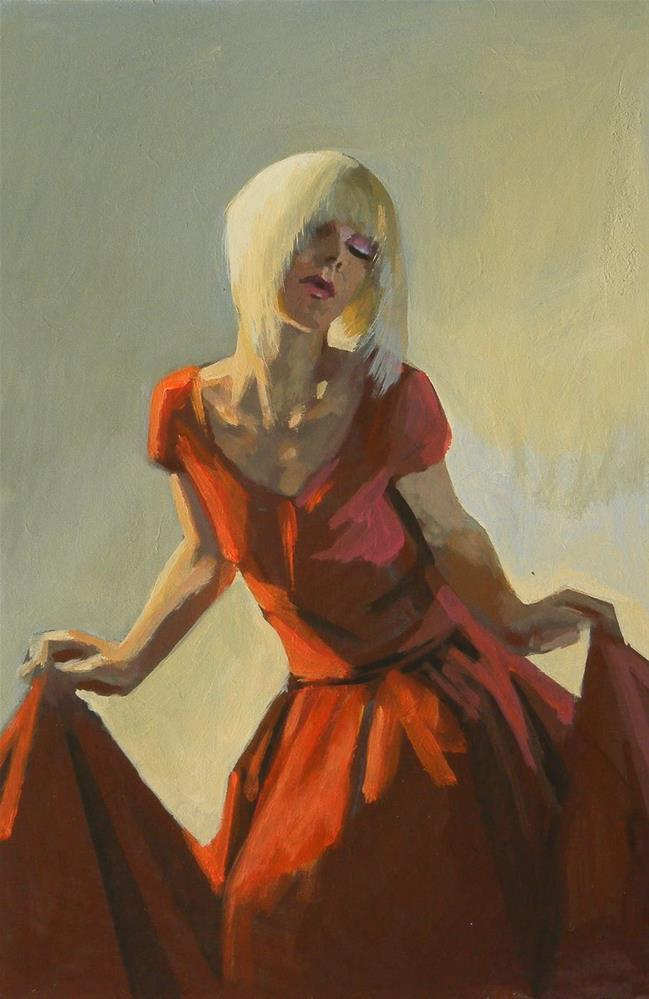 """Red dress"" original fine art by Peter Orrock"