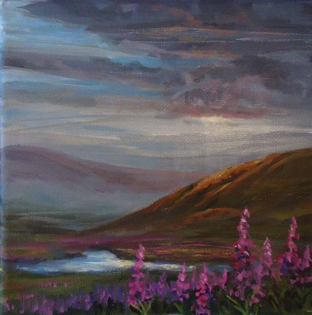 """Yukon Fireweed Series No. 2"" original fine art by Jackie Irvine"