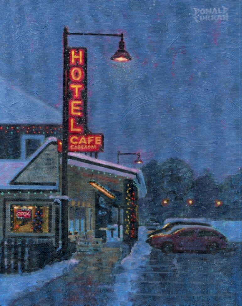 """Snowy Night"" original fine art by Donald Curran"