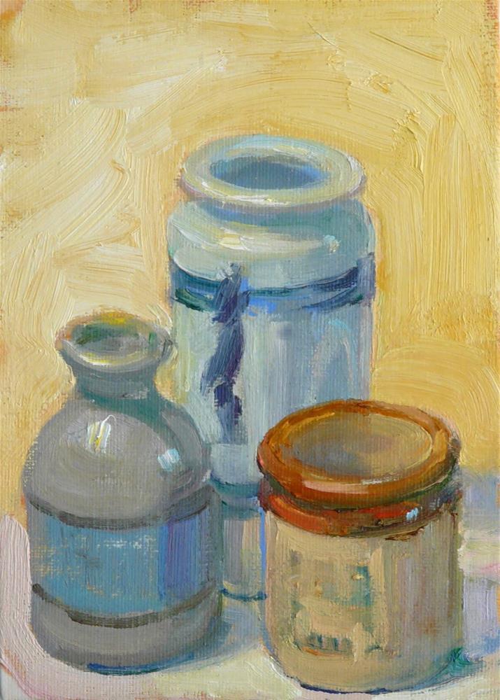 """Jars and Jugs,still life,oil on canvas,7x5,price$175"" original fine art by Joy Olney"