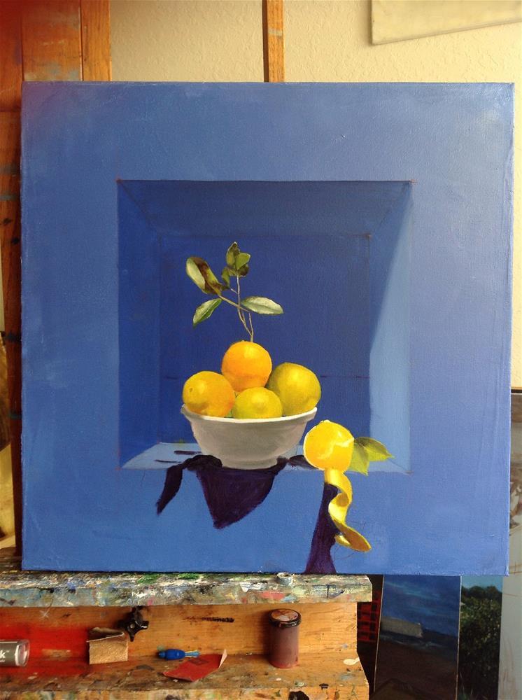 """""Orange daylight"" 20 x 20 inches oil on canvas- work in progress"" original fine art by Paulo Jimenez"