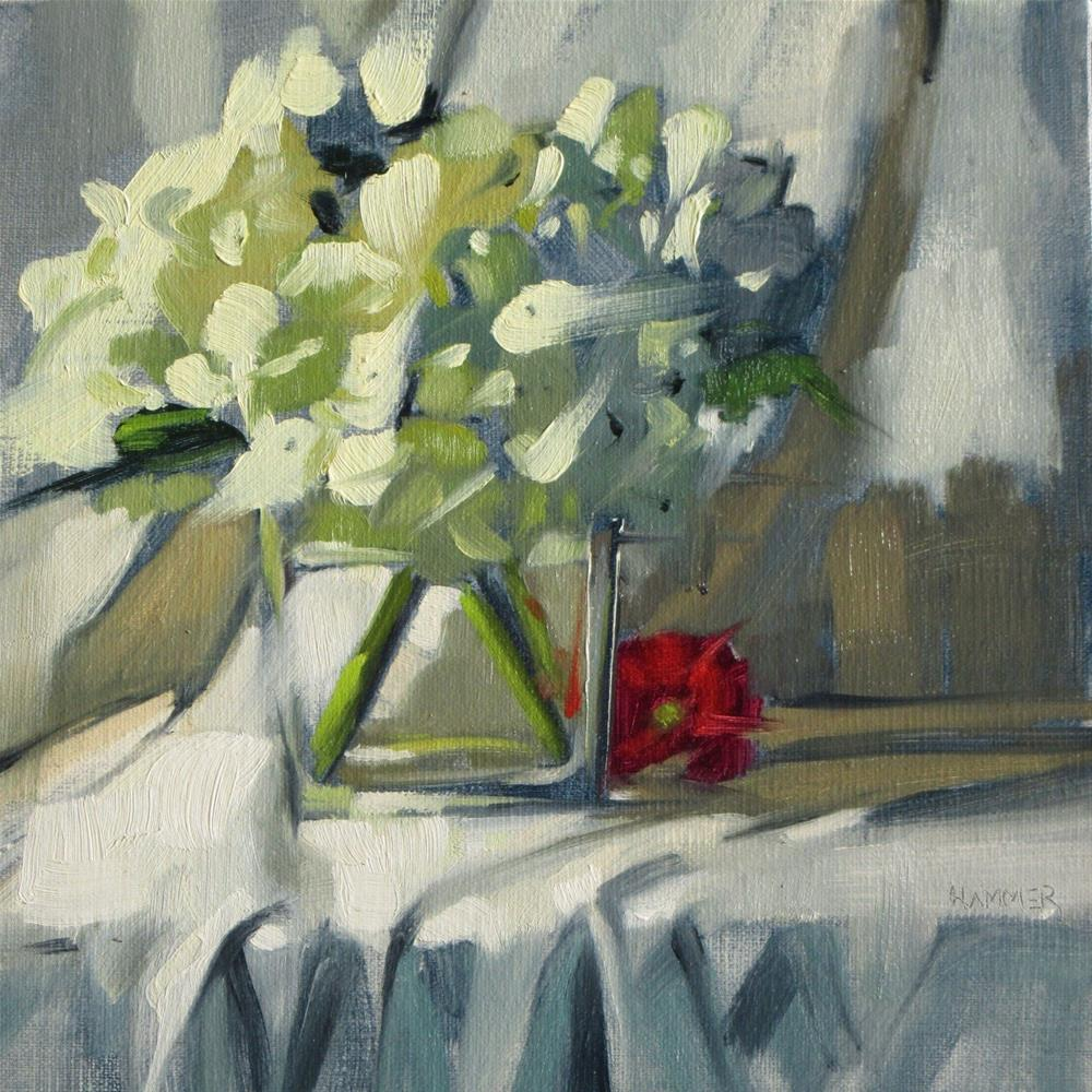 """White Hydrangeas with a Red Daisy  8 x 8  oil"" original fine art by Claudia Hammer"