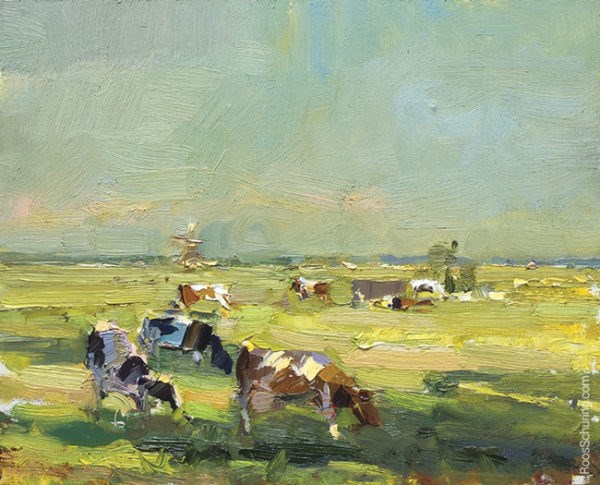 """Cows near Dyke and Windmills in Evening Light"" original fine art by Roos Schuring"