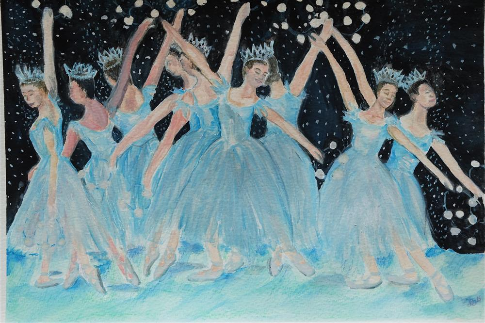 """Dance of the Snowflakes"" original fine art by Laura Denning"