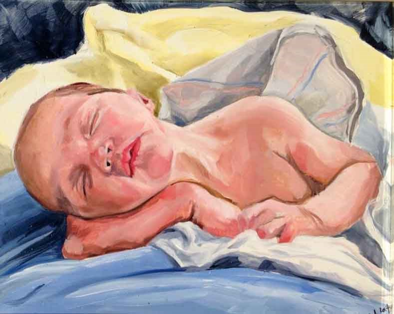 """Baby Nolan"" original fine art by Lauren Kuhn"