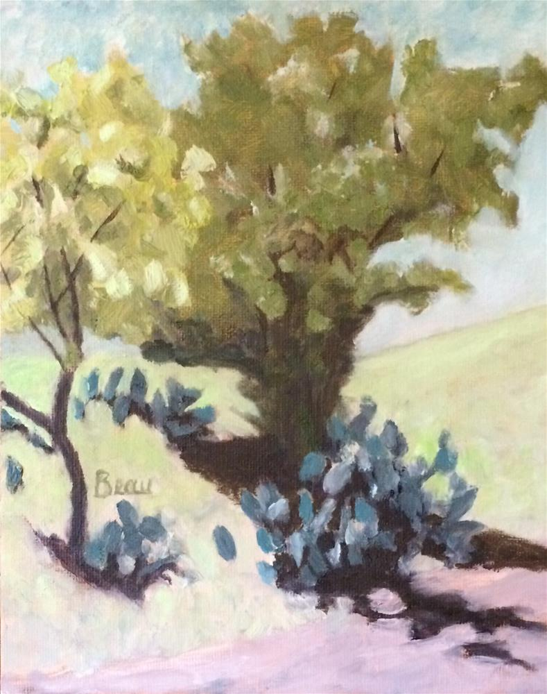 """Mesquite and Cactus"" original fine art by Beau Crump"