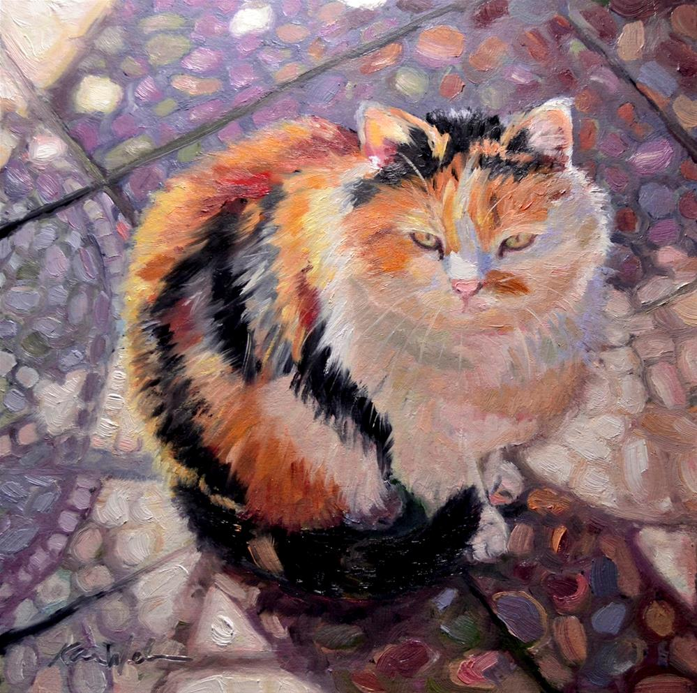 """Sunlit Calico"" original fine art by Karen Weber"