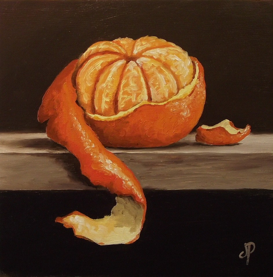 """Peeled Clementine #2"" original fine art by Jane Palmer"