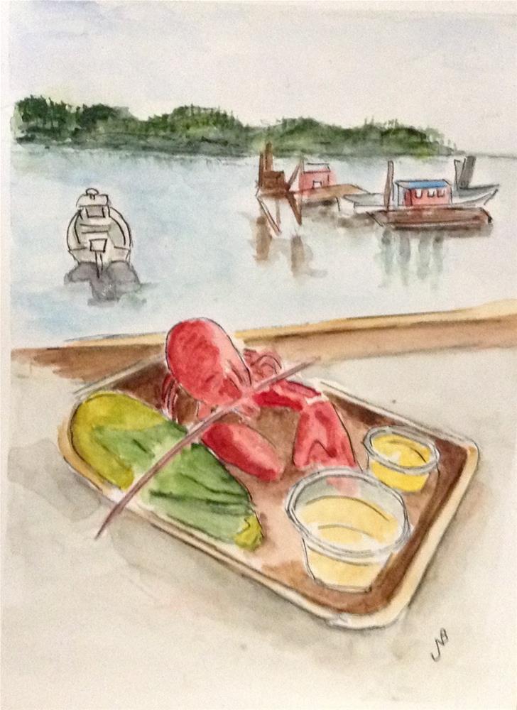 """""""The Taste Of Maine watercolor 6 x 9"""" original fine art by Nancy Beard"""
