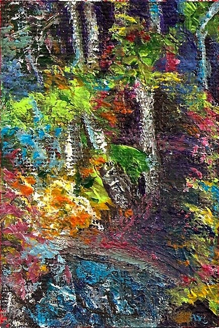 """""""ACEO Abstract Forest Path Impasto Textured Acrylic Landscape Penny StewArt"""" original fine art by Penny Lee StewArt"""