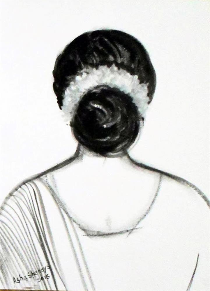 """The Indian hairstyle -the hair bun"" original fine art by Asha Shenoy S"