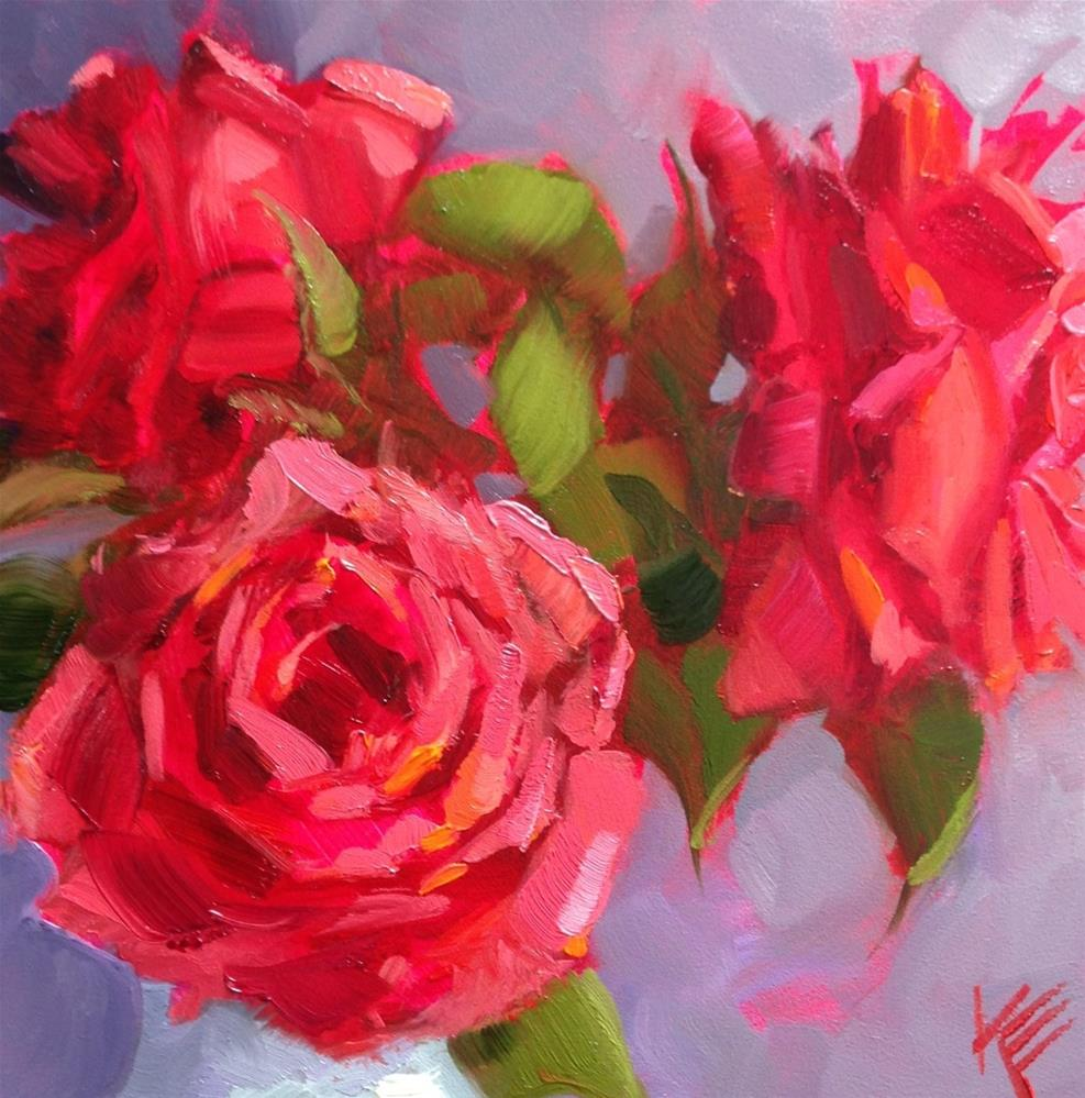 """Roses in White Vase"" original fine art by Krista Eaton"