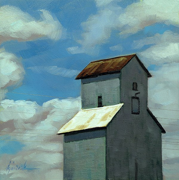 """Lincoln Highway/Grain Elevator, Nebraska"" original fine art by Karin Jurick"