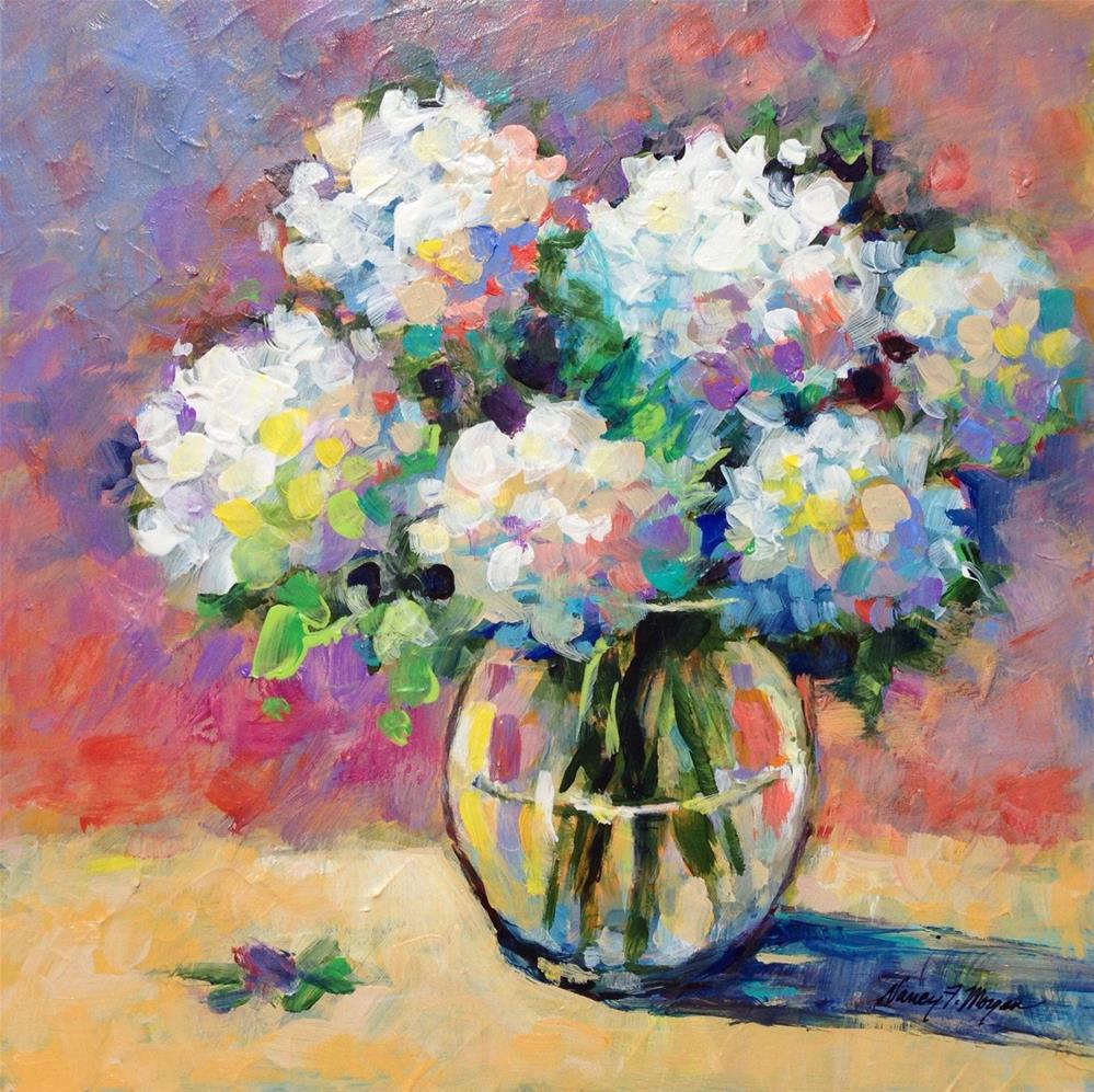 """Sunny Hydrangeas"" original fine art by Nancy F. Morgan"