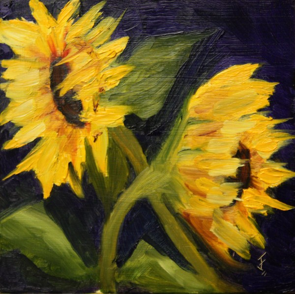 """Sunflower Duo"" original fine art by Jane Frederick"