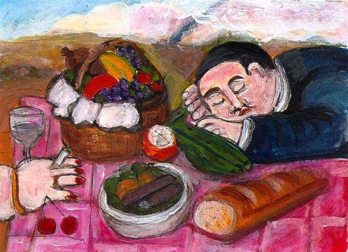 """""""ACEO Picnic in the style of Botero Acrylic Miniature Masterpiece Penny StewArt"""" original fine art by Penny Lee StewArt"""