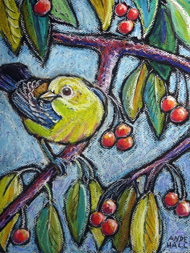 """Warbler on Crabapple"" original fine art by Ande Hall"