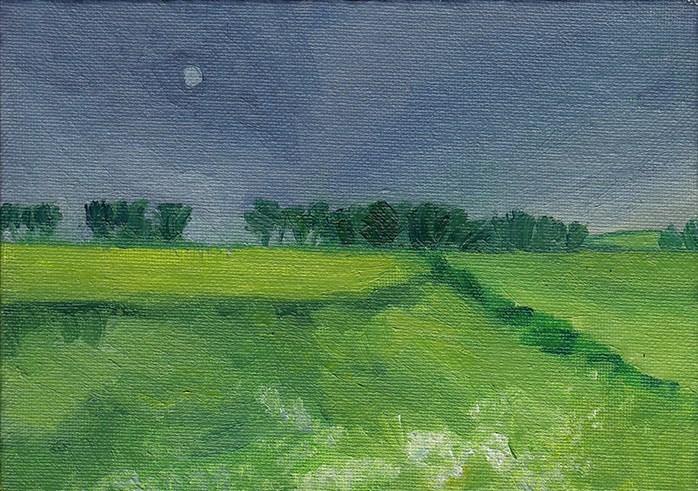 """Moon Over Fields"" original fine art by J M Needham"