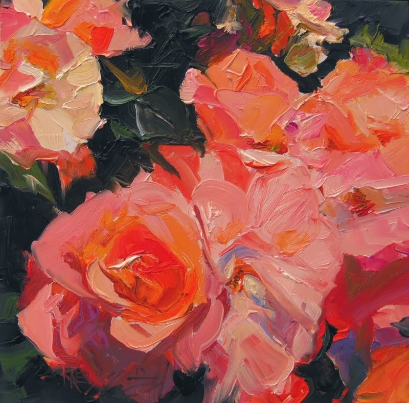 """Studio Rose  rose series #3 oil painting by Robin Weiss"" original fine art by Robin Weiss"
