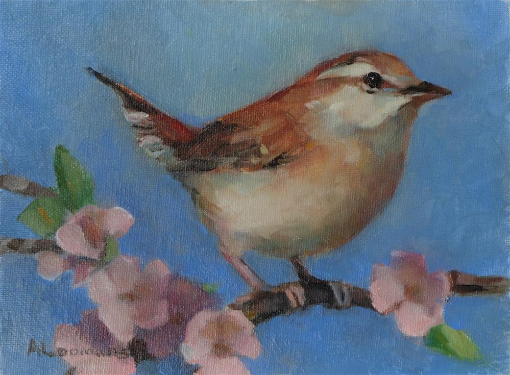 """Wren With Cherry Blossoms"" original fine art by Adele Loomans"