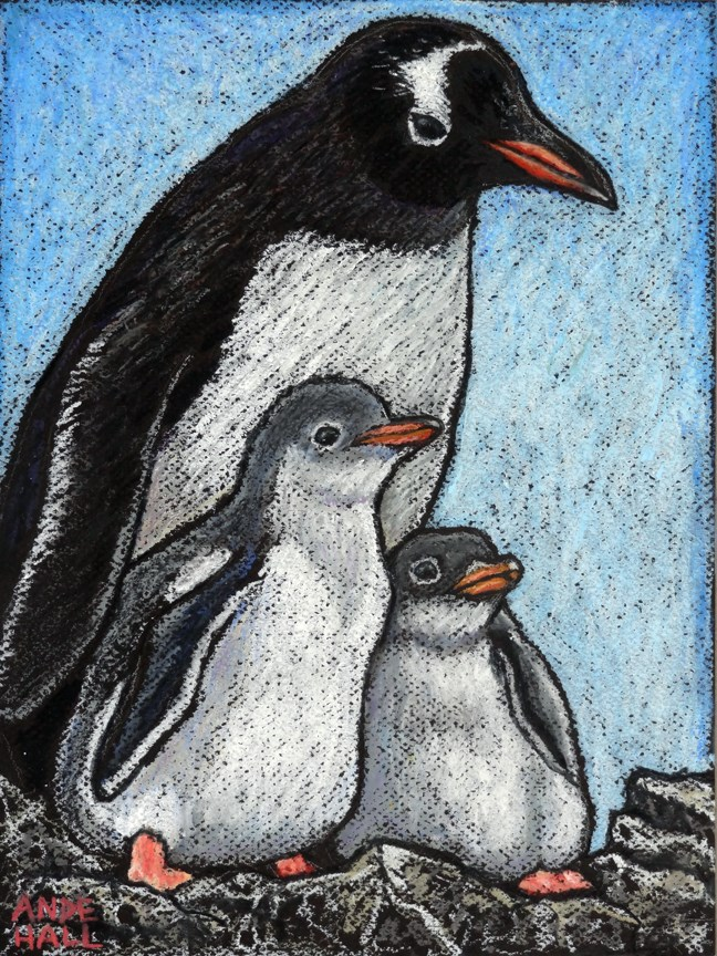"""Gentoo Penguins"" original fine art by Ande Hall"