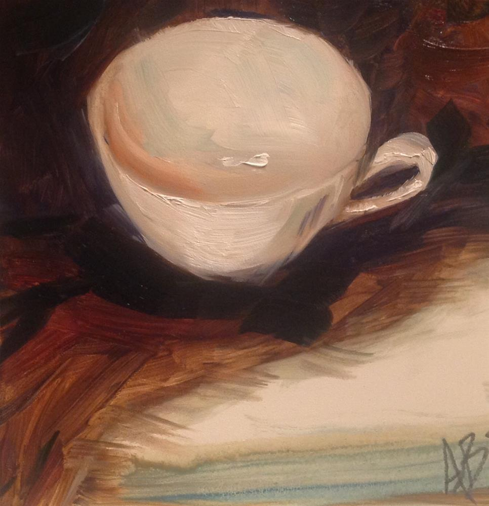 """White cup on Brown cloth"" original fine art by Annette Balesteri"