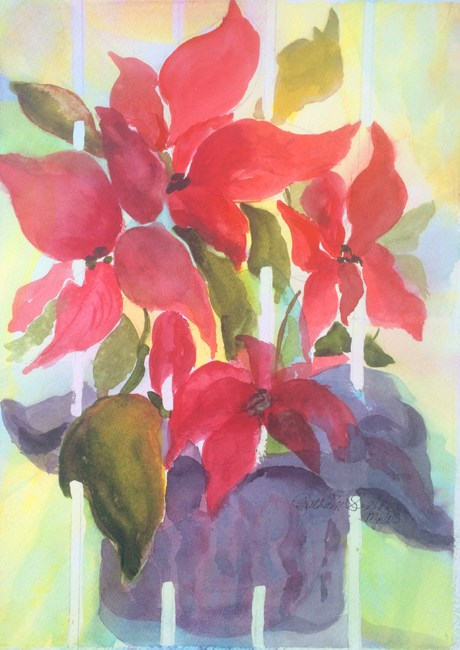 """Poinsettia and Stripes"" original fine art by Ruthie Sexton"