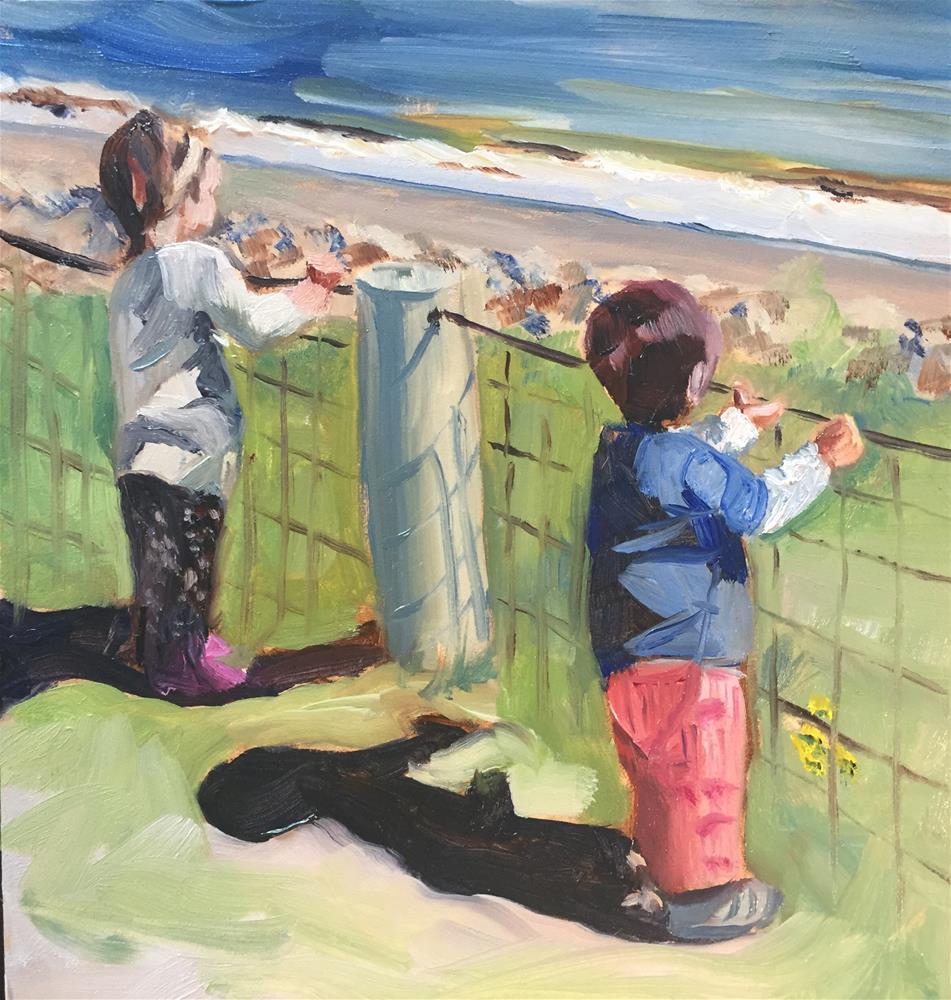 """Babes at the beach"" original fine art by Donna Raven"
