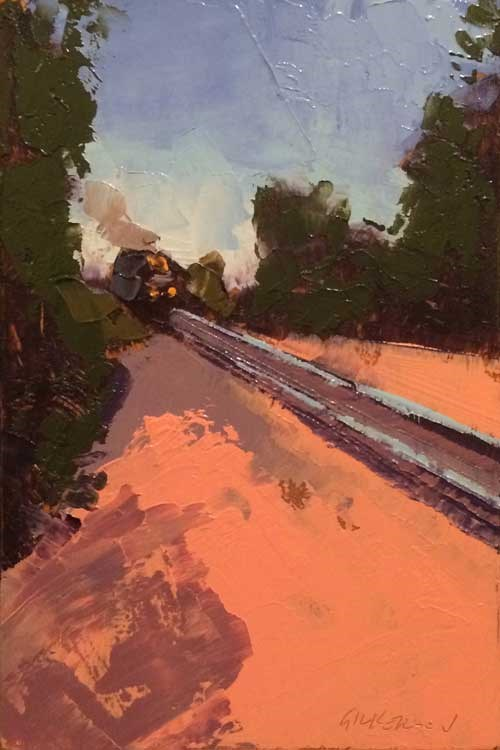 """Train, Greene Street Crossing"" original fine art by Mary Gilkerson"