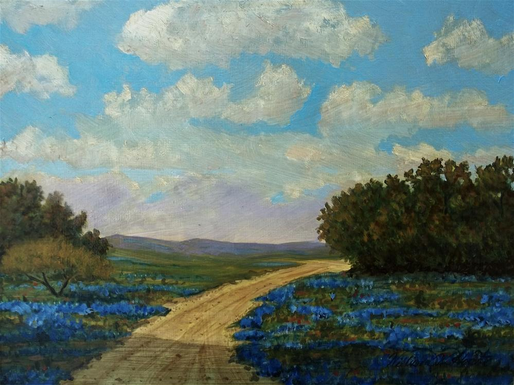 """Bluebonnet Hills"" original fine art by William W. Hoyt"