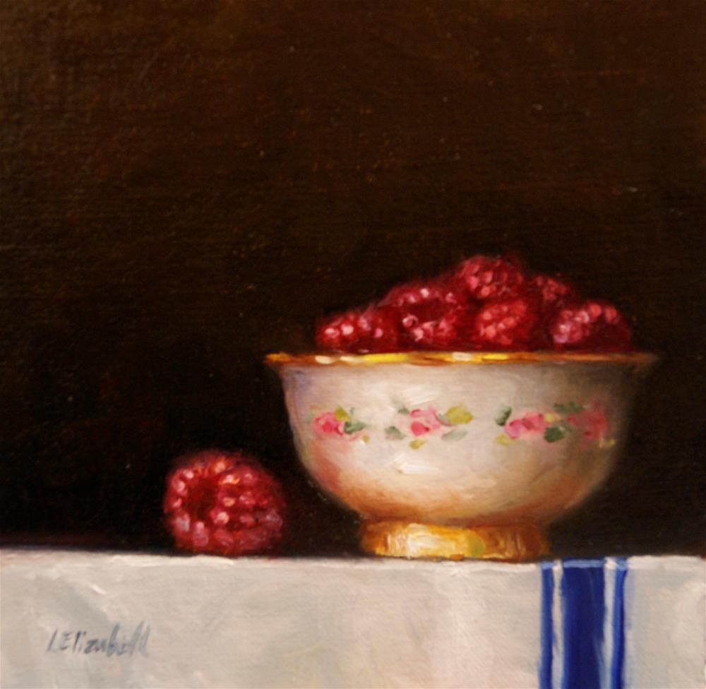 """Raspberries in Bowl with Gold Foot, 6x6 Oil on linen Panel"" original fine art by Carolina Elizabeth"
