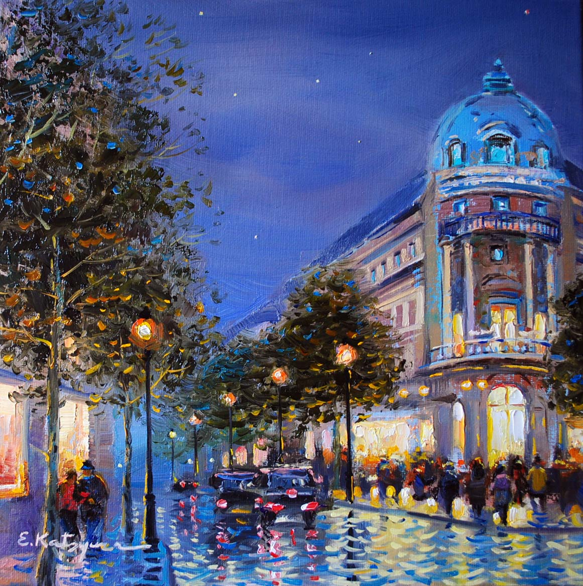 """Night in Paris"" original fine art by Elena Katsyura"
