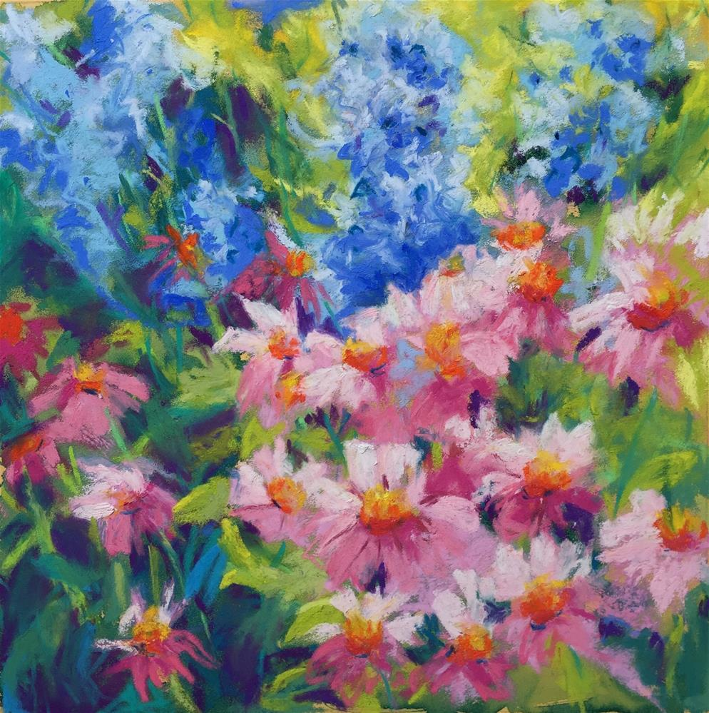 """Pink and Blues"" original fine art by Sandi Miller"