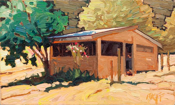 """Summer Shed: 6x10 oil on panel"" original fine art by Ken Faulks"