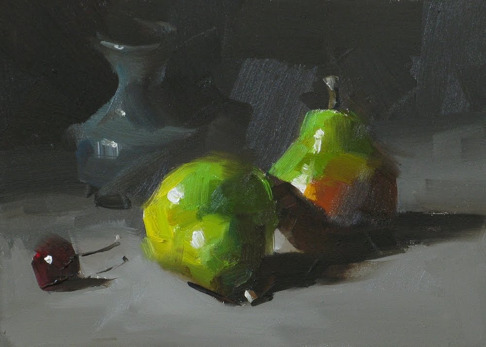 """A Pair of Pears"" original fine art by Qiang Huang"