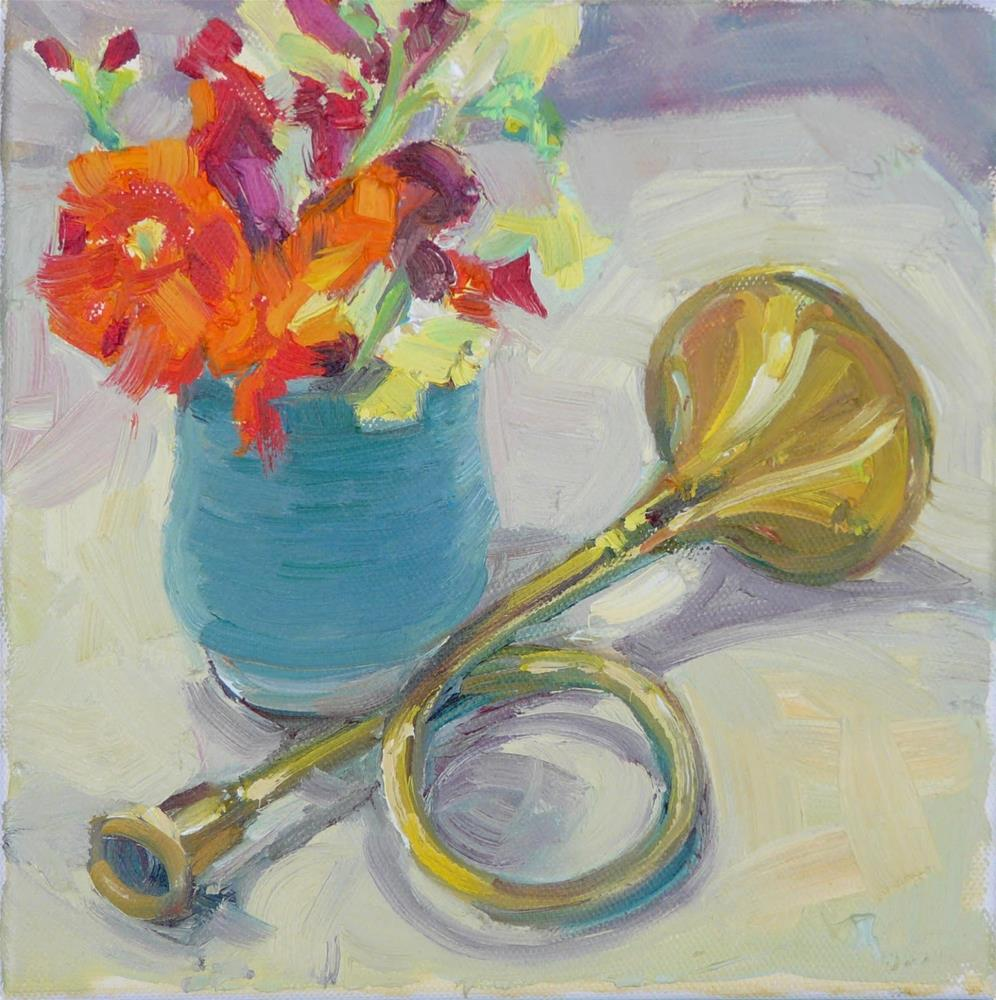 """Brass Horn,still life,oil on canvas,8x8,price$200"" original fine art by Joy Olney"