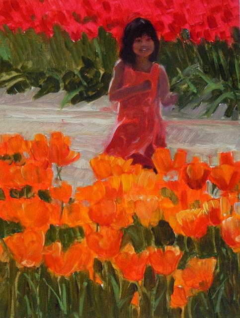 """Tulip Girl  Skagit county tulip festival"" original fine art by Robin Weiss"