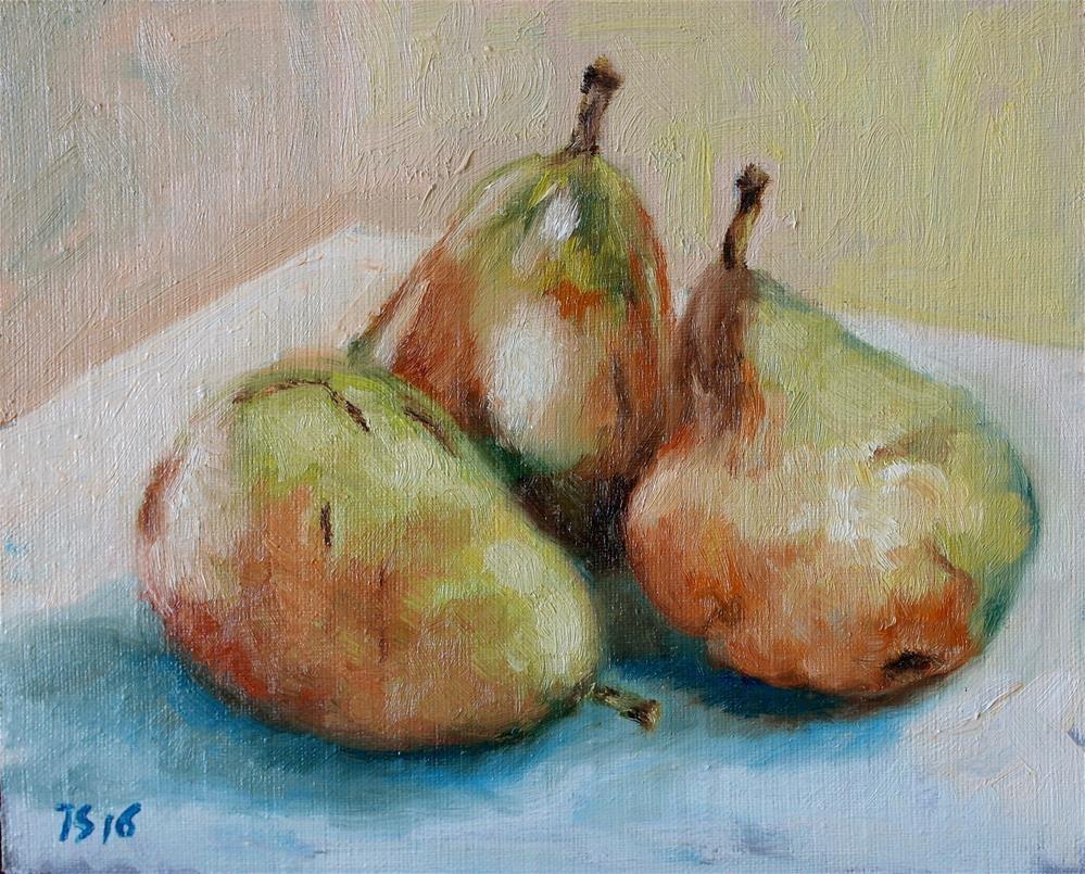 """""""3 pears 2"""" original fine art by Yuriy Semyonov"""
